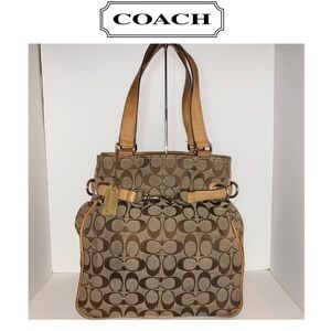 💕COACH SIGNATURE CARRYALL KHAKI BELTED BAG💕